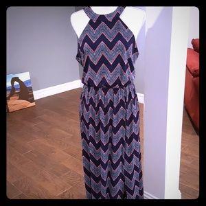 ♡Big Discount ♡ Navy blue & pink maxi dress